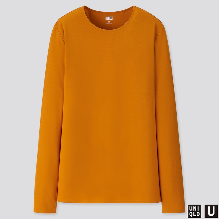 Women U Crew Neck Long-sleeve T-shirt, Orange, Large