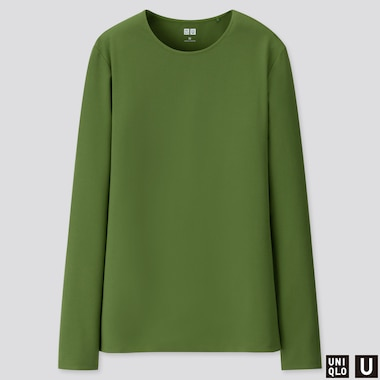 WOMEN U CREW NECK LONG-SLEEVE T-SHIRT, GREEN, medium