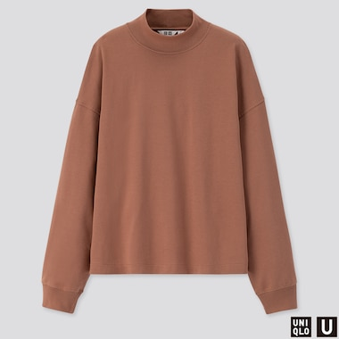 WOMEN U MOCK NECK LONG-SLEEVE T-SHIRT, BROWN, medium