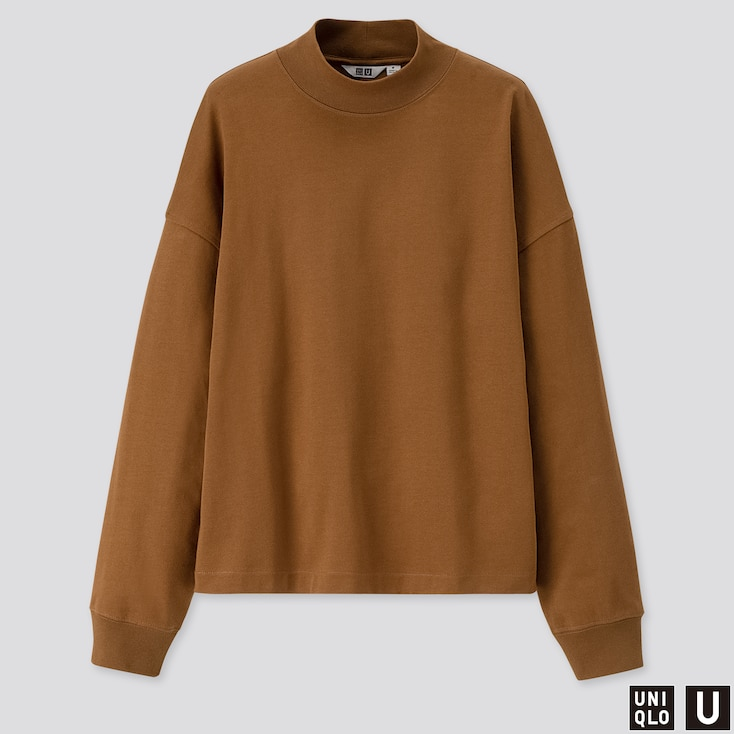 Women U Mock Neck Long-Sleeve T-Shirt, Brown, Large