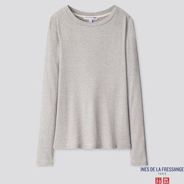 WOMEN RIBBED CREW NECK LONG-SLEEVE T-SHIRT (INES DE LA FRESSANGE), OFF WHITE, medium