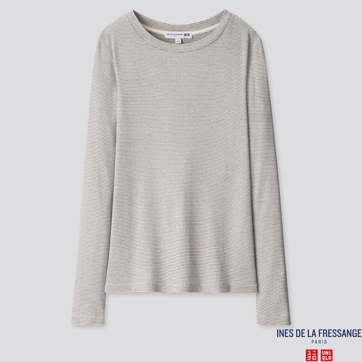 WOMEN RIBBED CREW NECK LONG-SLEEVE T-SHIRT (INES DE LA FRESSANGE), OFF WHITE, large