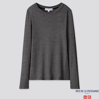WOMEN INES RIBBED CREW NECK LONG SLEEVED T-SHIRT