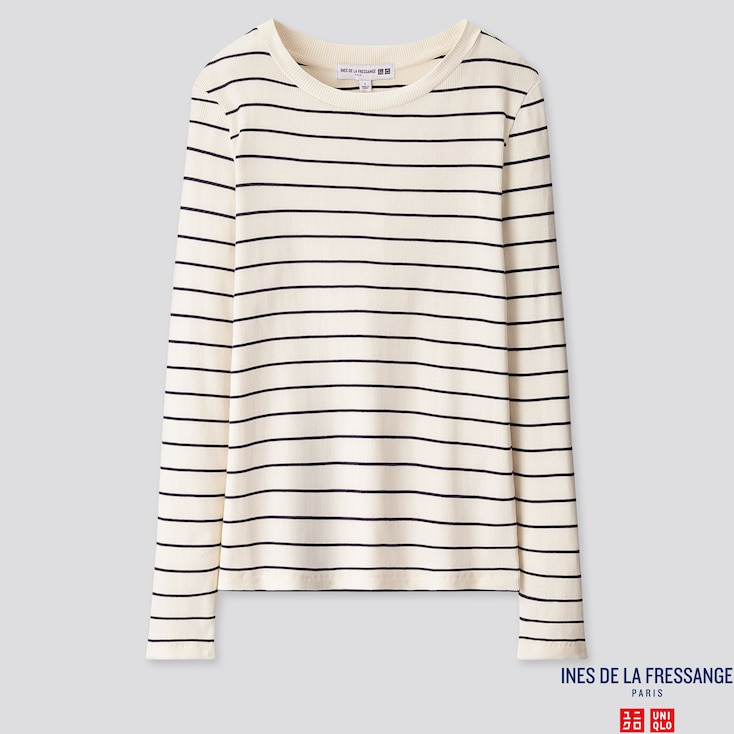 WOMEN RIBBED CREW NECK LONG-SLEEVE T-SHIRT (INES DE LA FRESSANGE), OFF WHITE, large