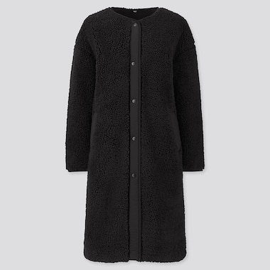 WOMEN PILE-LINED FLEECE COLLARLESS COAT, BLACK, medium