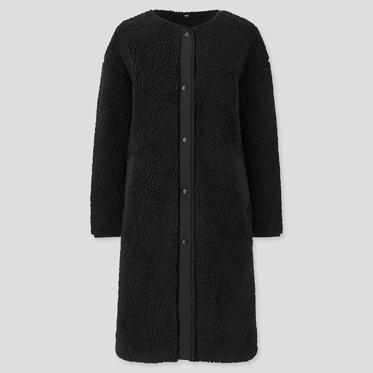 WOMEN PILE-LINED FLEECE COLLARLESS COAT, BLACK, large