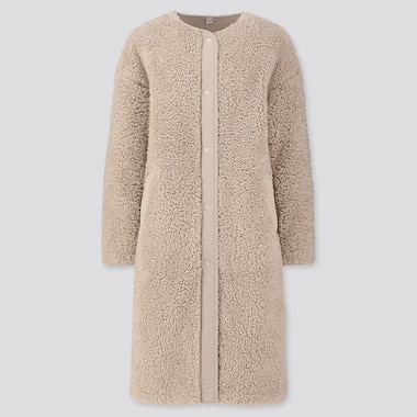 WOMEN PILE-LINED FLEECE COLLARLESS COAT, NATURAL, medium