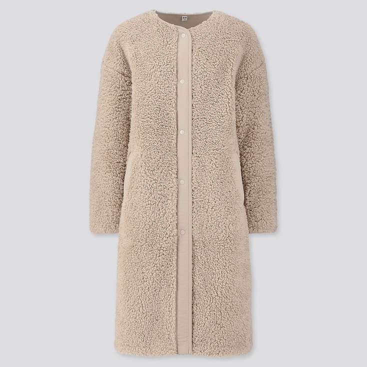 WOMEN PILE-LINED FLEECE COLLARLESS COAT, NATURAL, large