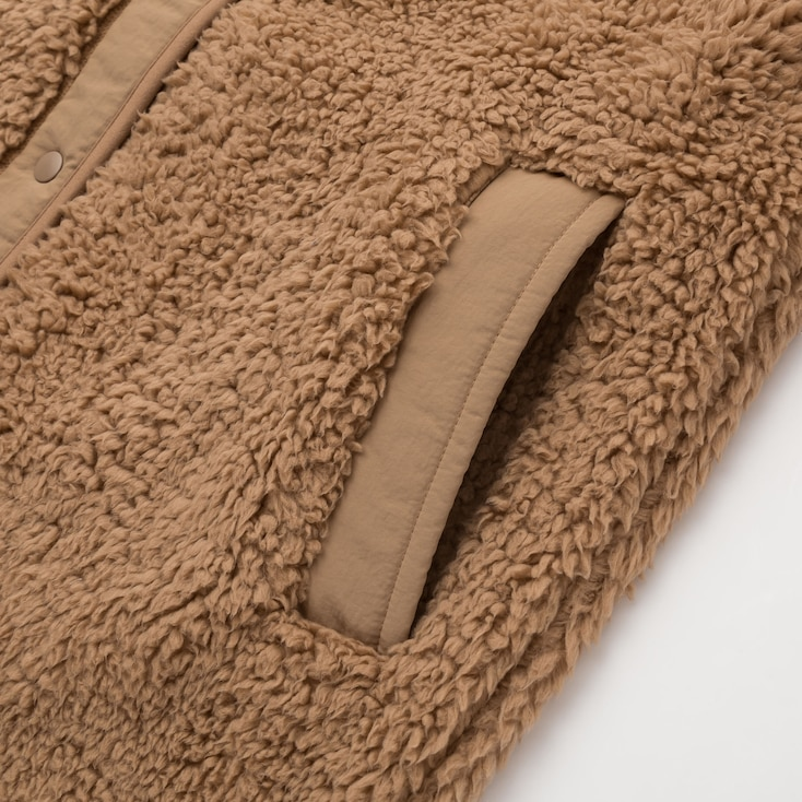 Women Pile-Lined Fleece Collarless Coat, Beige, Large