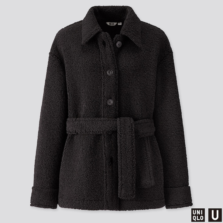 WOMEN U PILE-LINED FLEECE SHORT COAT, BLACK, large