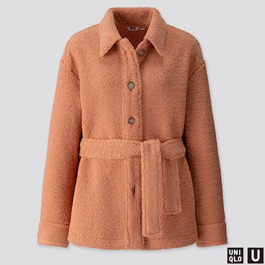 WOMEN U PILE-LINED FLEECE SHORT COAT, LIGHT ORANGE, medium