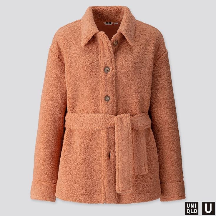Women U Pile-lined Fleece Short Coat, Light Orange, Large