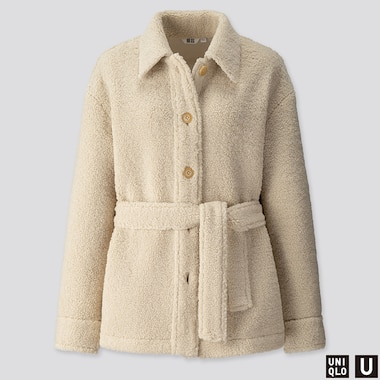WOMEN U PILE-LINED FLEECE SHORT COAT, NATURAL, medium