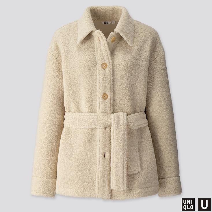 Women U Pile-Lined Fleece Short Coat, Natural, Large