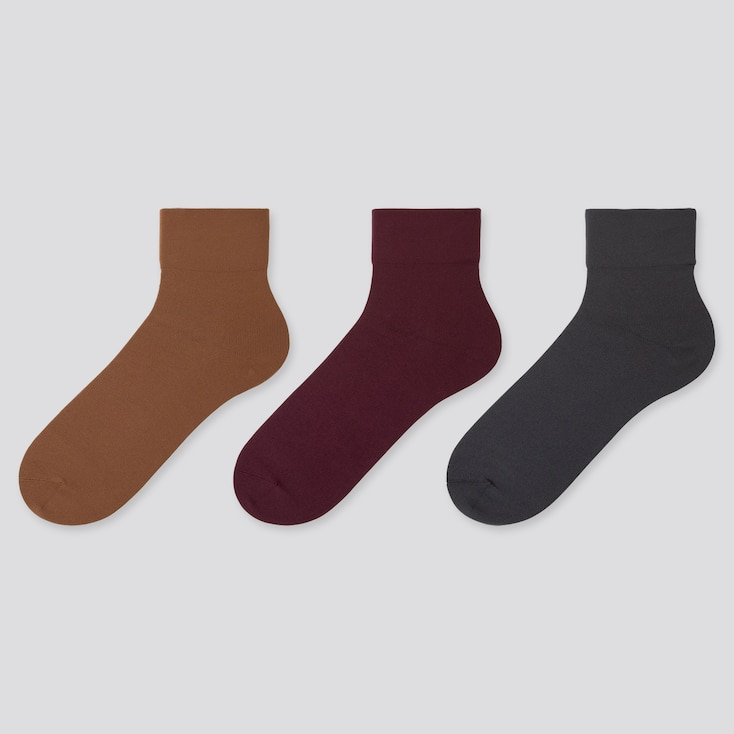 WOMEN CREW TAPER  SOCKS (3 PAIRS), BROWN, large