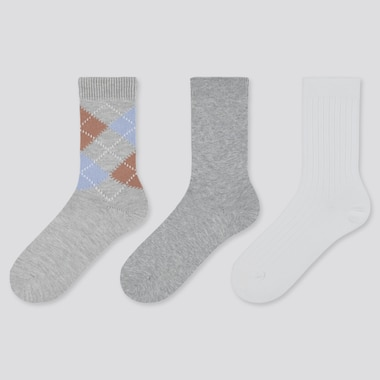 WOMEN ARGYLE SOCKS (3 PAIRS), GRAY, medium