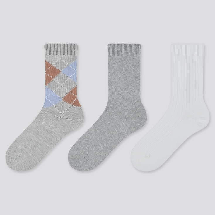 WOMEN ARGYLE SOCKS (3 PAIRS), GRAY, large