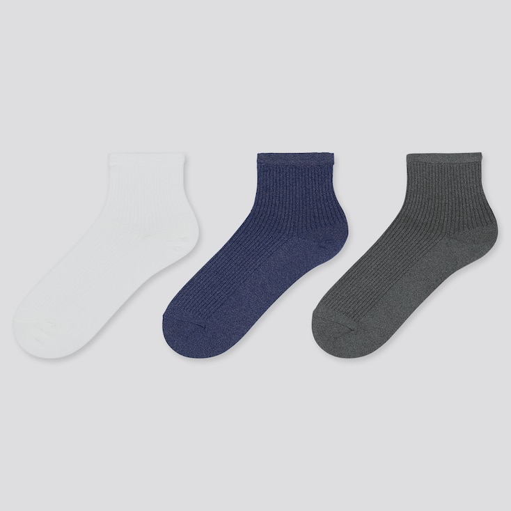 WOMEN CREW RIBBED SOCKS (3 PAIRS), OFF WHITE, large