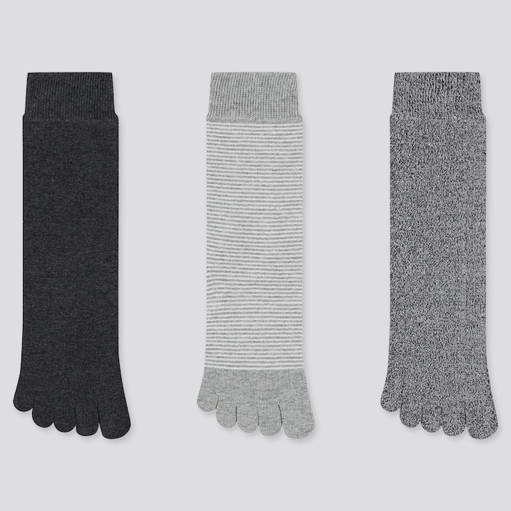 Women Toe Socks (3 Pairs) (online Exclusive), Dark Gray, Large