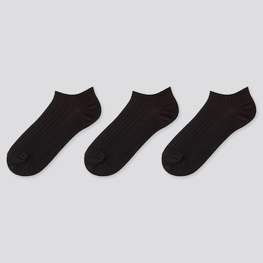 Women Ribbed Short Socks (3 Pairs), Black, Medium