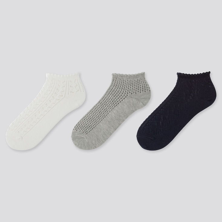 WOMEN LACE SHORT SOCKS (3 PAIRS), OFF WHITE, large