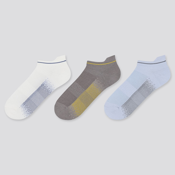 WOMEN SPORT SHORT SOCKS (3 PAIRS), OFF WHITE, large