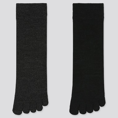 WOMEN HEATTECH TOE SOCKS (2 PAIRS), BLACK, medium