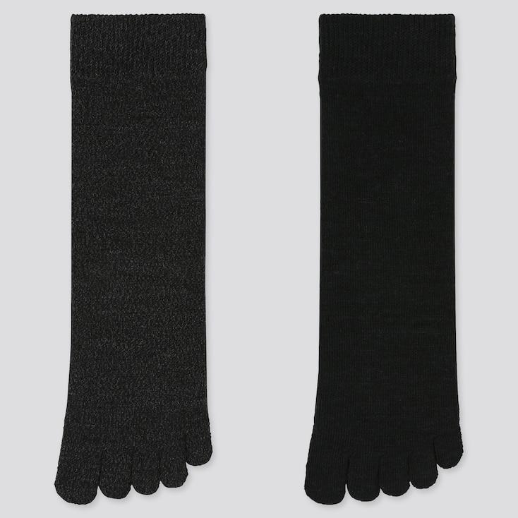 WOMEN HEATTECH TOE SOCKS (2 PAIRS), BLACK, large