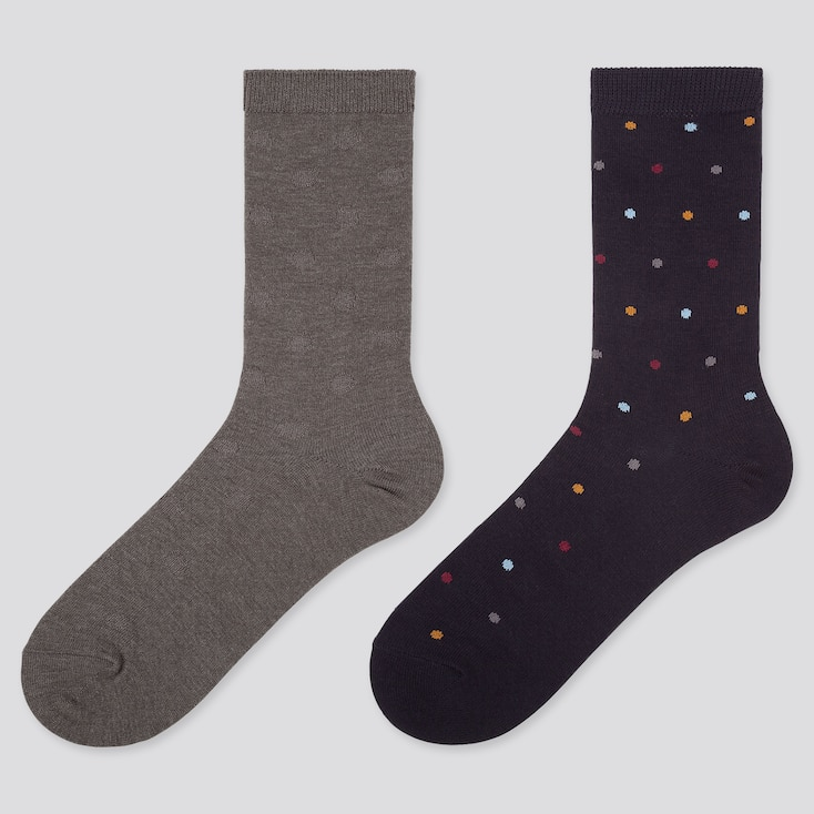 WOMEN HEATTECH DOT SOCKS (2 PAIRS), DARK GRAY, large