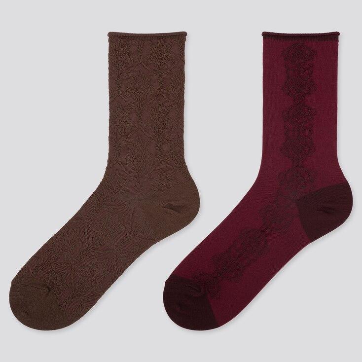 WOMEN HEATTECH FLOAT SOCKS (2 PAIRS), DARK BROWN, large