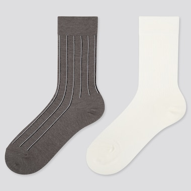 WOMEN HEATTECH STRIPED SOCKS (2 PAIRS), DARK GRAY, medium