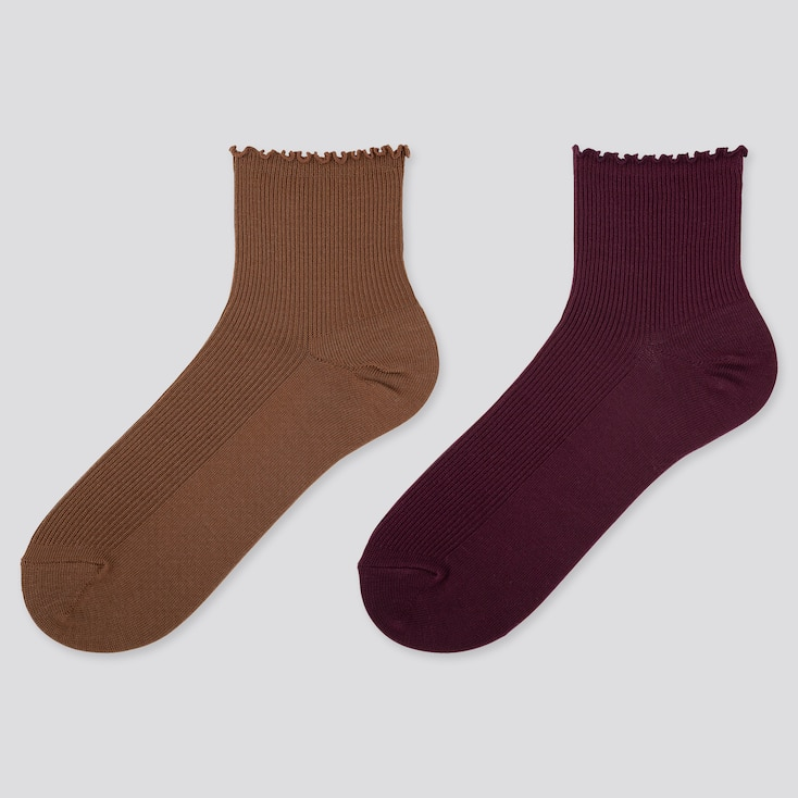 WOMEN HEATTECH CREW MERROW SOCKS (2 PAIRS), BROWN, large