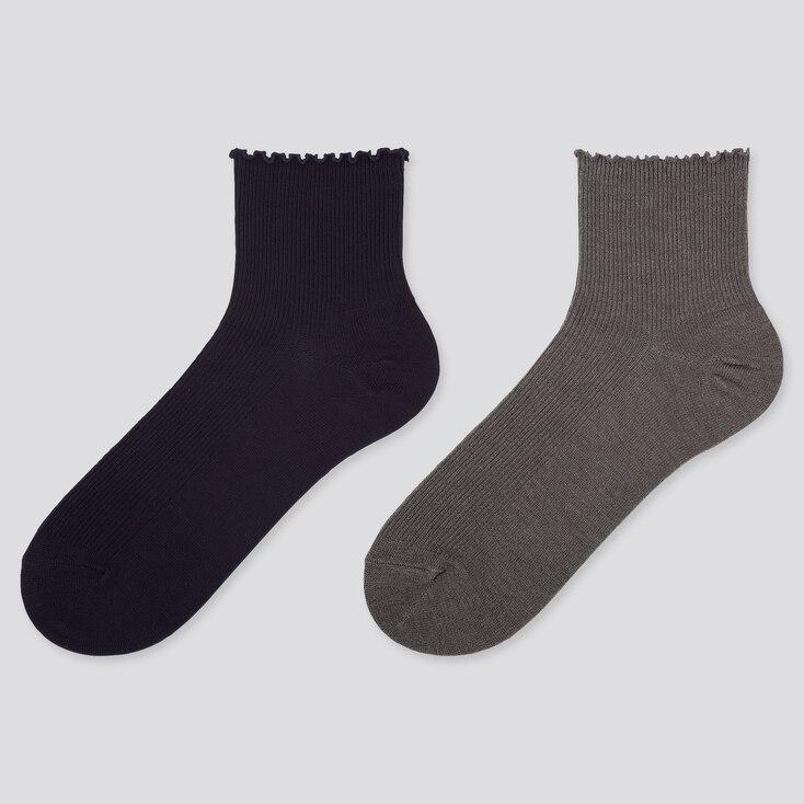 WOMEN HEATTECH CREW MERROW SOCKS (2 PAIRS), NAVY, large