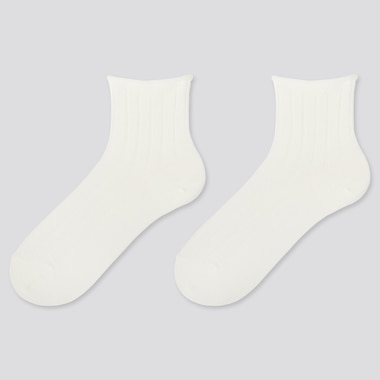 WOMEN HEATTECH CREW TOP-ROLL SOCKS (2 PAIRS), WHITE, medium
