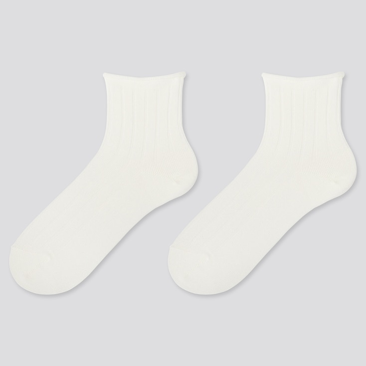 WOMEN HEATTECH CREW TOP-ROLL SOCKS (2 PAIRS), WHITE, large