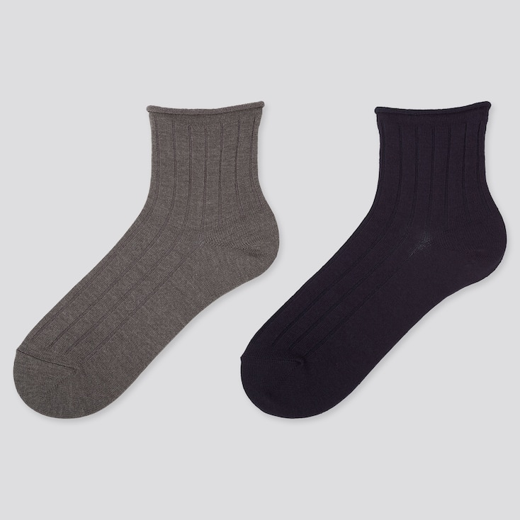 Women Heattech Crew Top-Roll Socks (2 Pairs), Dark Gray, Large