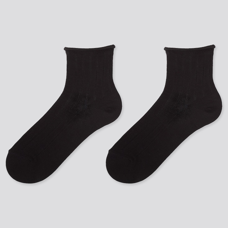 WOMEN HEATTECH CREW TOP-ROLL SOCKS (2 PAIRS), BLACK, large