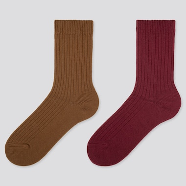 WOMEN HEATTECH RIBBED SOCKS (2 PAIRS), BROWN, medium