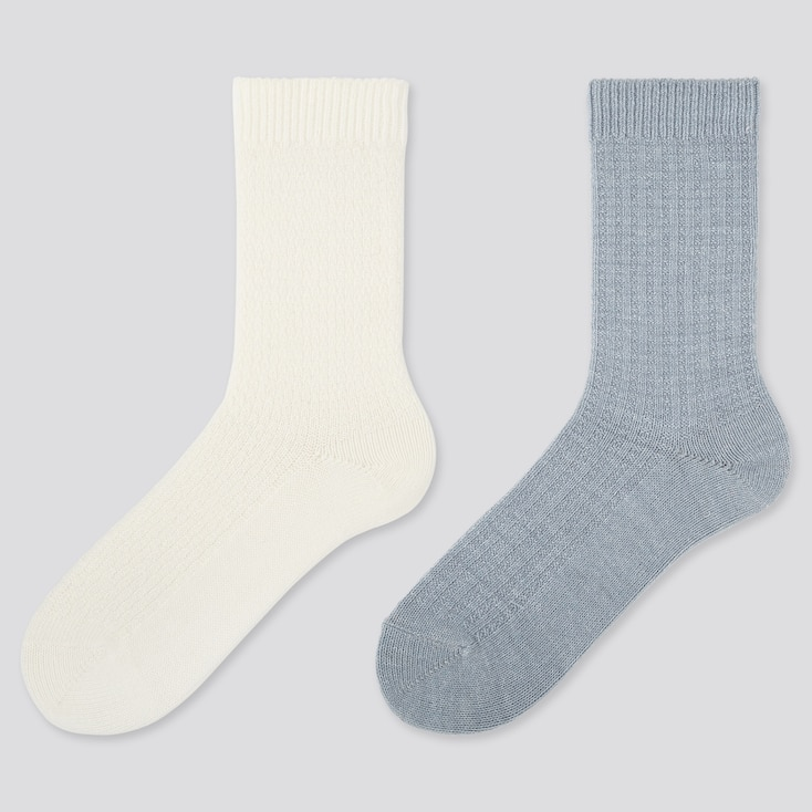 WOMEN HEATTECH PIQUE SOCKS (2 PAIRS), OFF WHITE, large