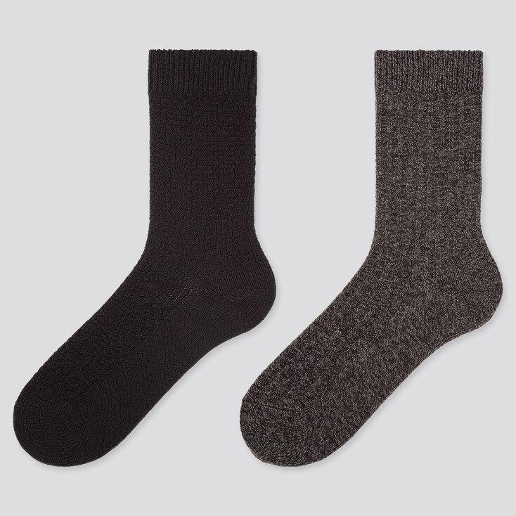 WOMEN HEATTECH PIQUE SOCKS (2 PAIRS), BLACK, large