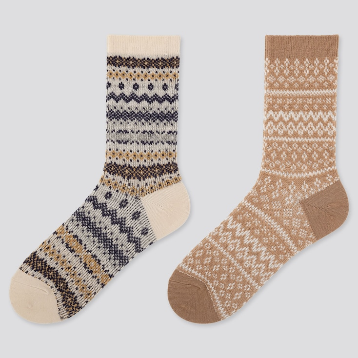WOMEN HEATTECH FAIR ISLE SOCKS (2 PAIRS), OFF WHITE, large