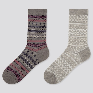 WOMEN HEATTECH FAIR ISLE PRINT SOCKS (TWO PAIRS)