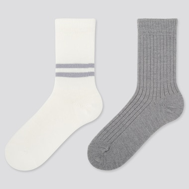 WOMEN HEATTECH LINE SOCKS (2 PAIRS), OFF WHITE, medium