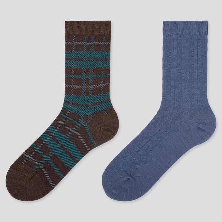 Women Heattech Checked Socks (2 Pairs), Dark Brown, Large
