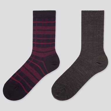 WOMEN HEATTECH CHECKED SOCKS (TWO PAIRS)