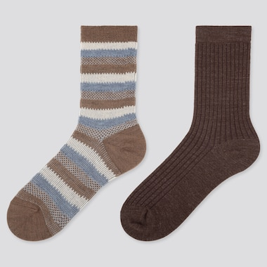 WOMEN HEATTECH STRIPED SOCKS (2 PAIRS), BEIGE, medium