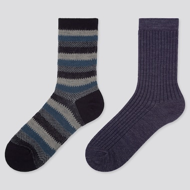 WOMEN HEATTECH STRIPED SOCKS (2 PAIRS), NAVY, medium