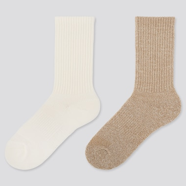 WOMEN HEATTECH RIBBED PILE SOCKS (2 PAIRS), OFF WHITE, medium