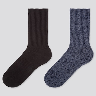 WOMEN HEATTECH RIBBED PILE SOCKS (TWO PAIRS)