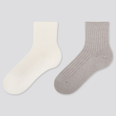 WOMEN HEATTECH CREW PIQUE SOCKS (2 PAIRS), OFF WHITE, medium